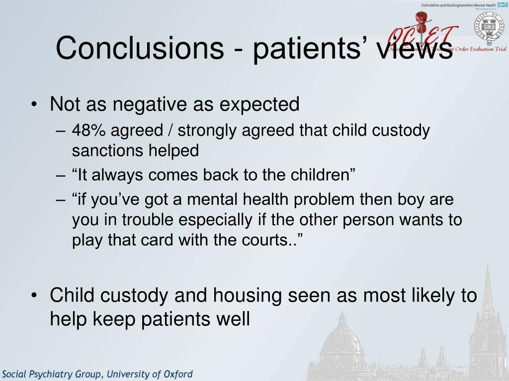 Conclusions - patients' views