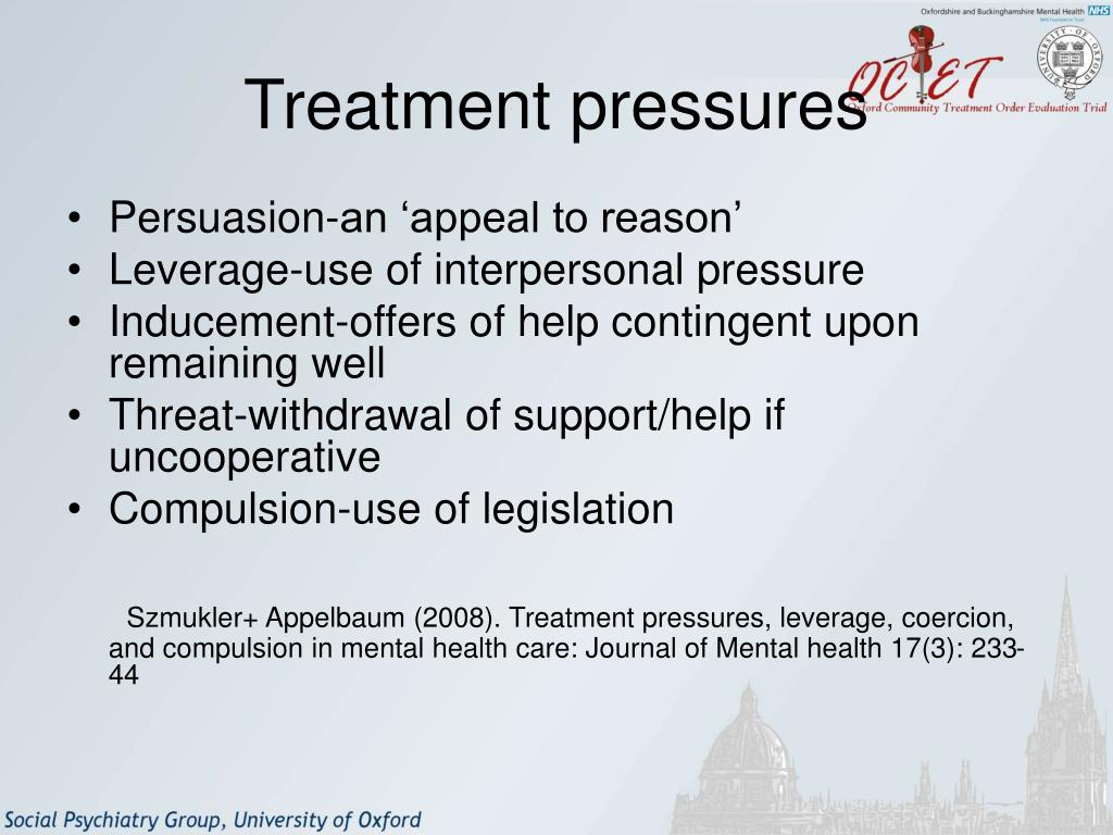 Treatment pressures
