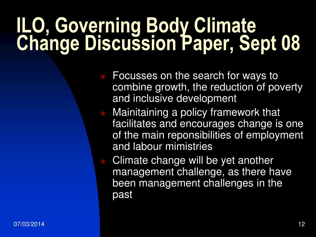 ILO, Governing Body Climate Change Discussion Paper, Sept 08