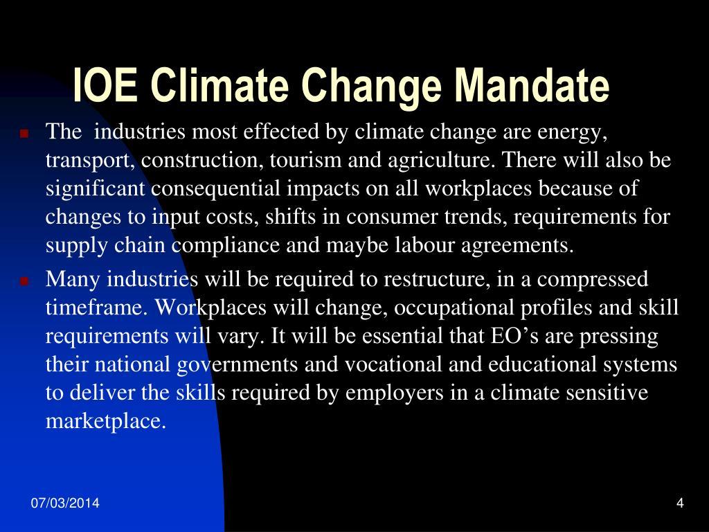 IOE Climate Change Mandate