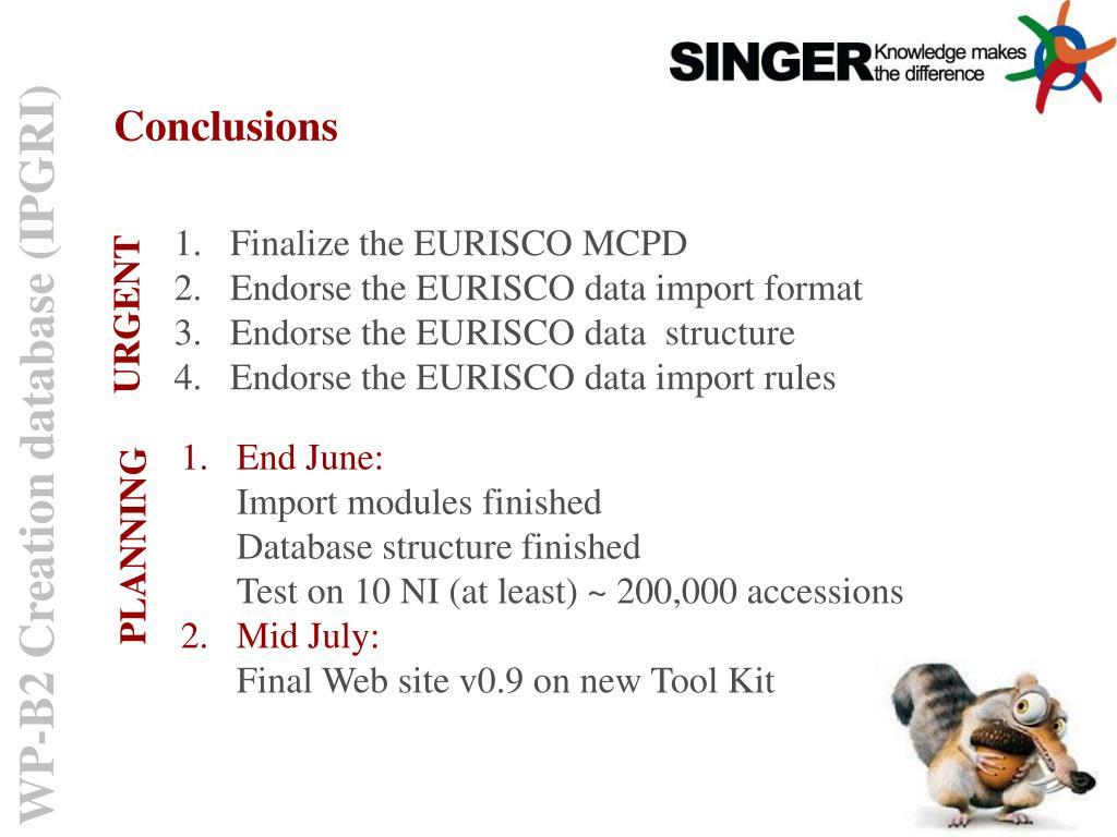 Finalize the EURISCO MCPD
