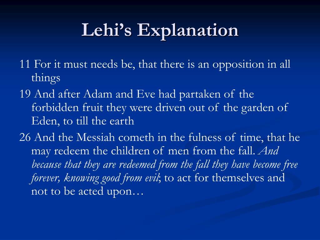 Lehi's Explanation