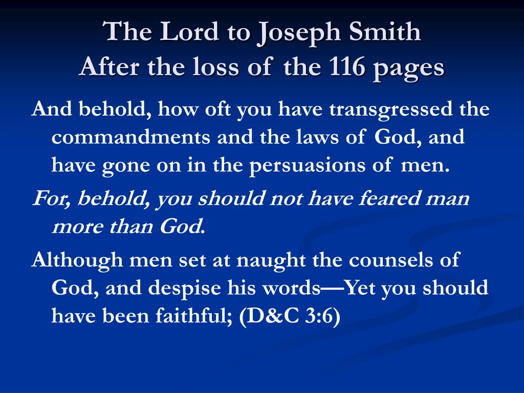 The Lord to Joseph Smith