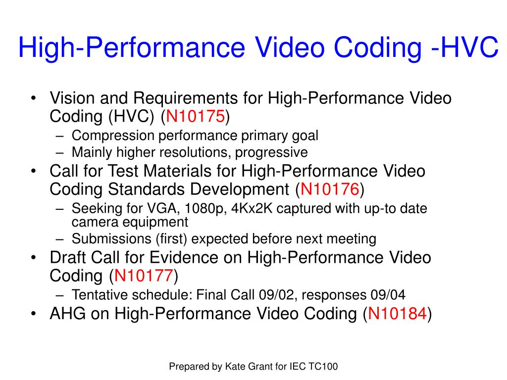 High-Performance Video Coding -HVC
