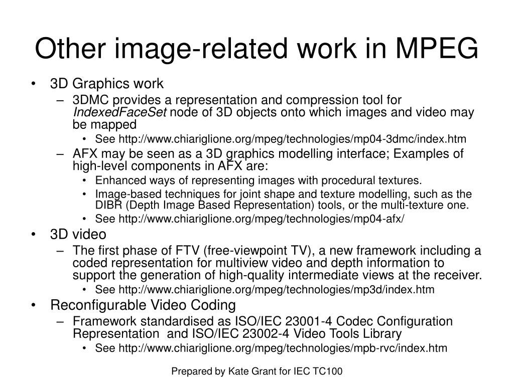 Other image-related work in MPEG