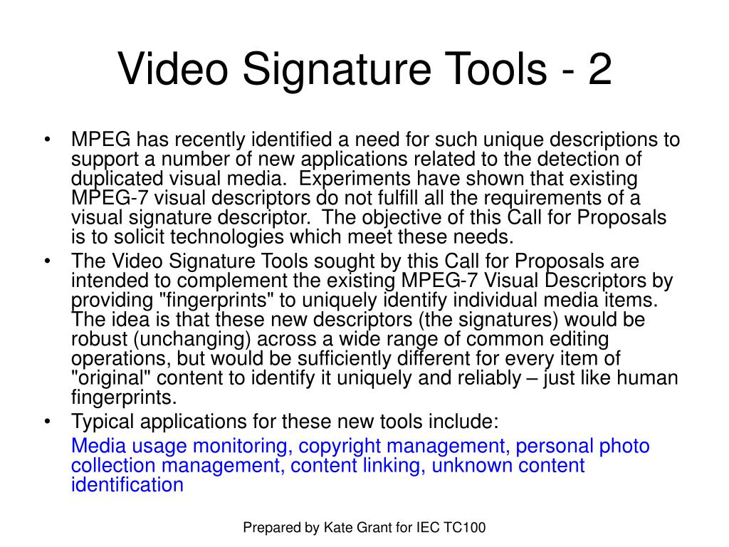 Video Signature Tools - 2
