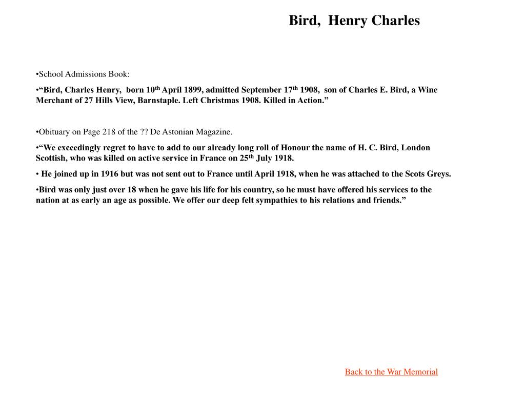 Bird,  Henry Charles