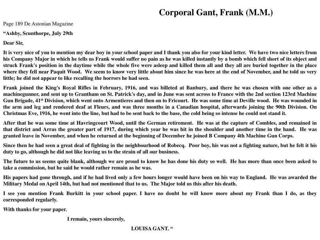 Corporal Gant, Frank (M.M.)