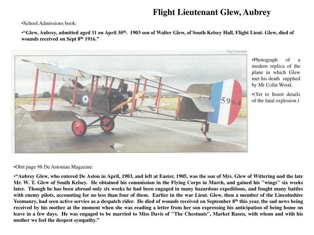 Flight Lieutenant Glew, Aubrey