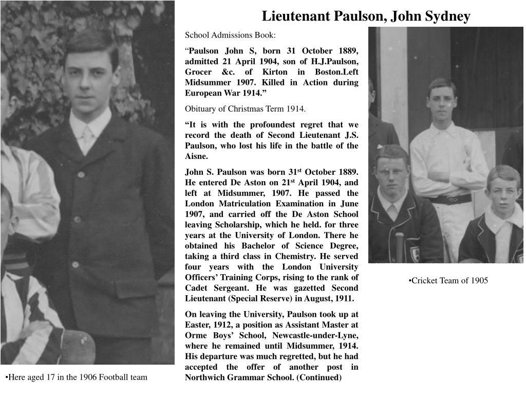Lieutenant Paulson, John Sydney