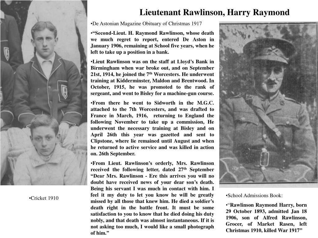 Lieutenant Rawlinson, Harry Raymond