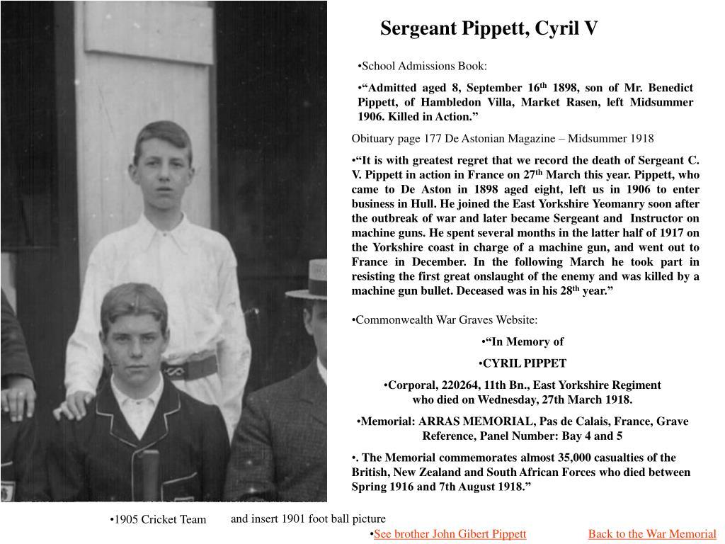 Sergeant Pippett, Cyril V