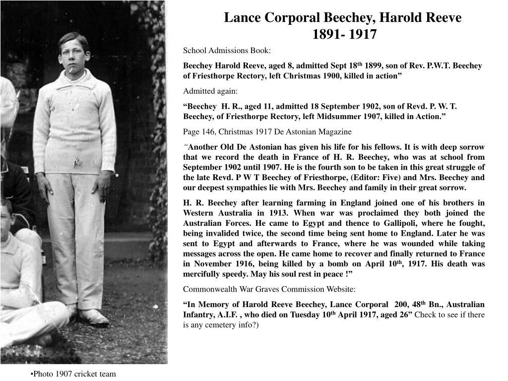 Lance Corporal Beechey, Harold Reeve