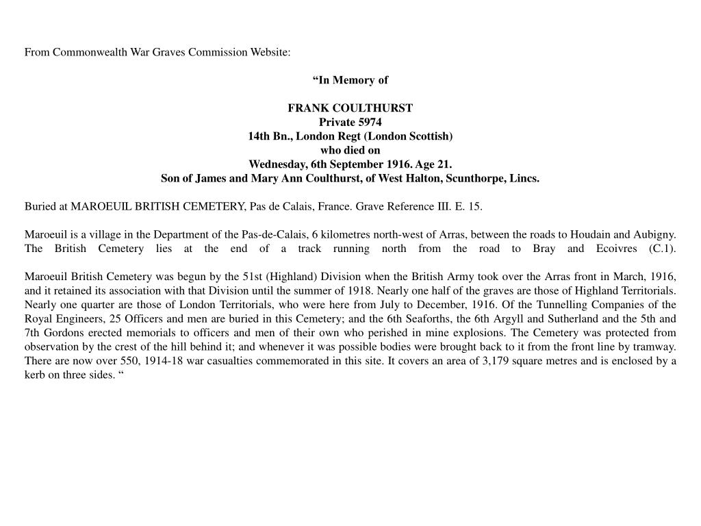 From Commonwealth War Graves Commission Website: