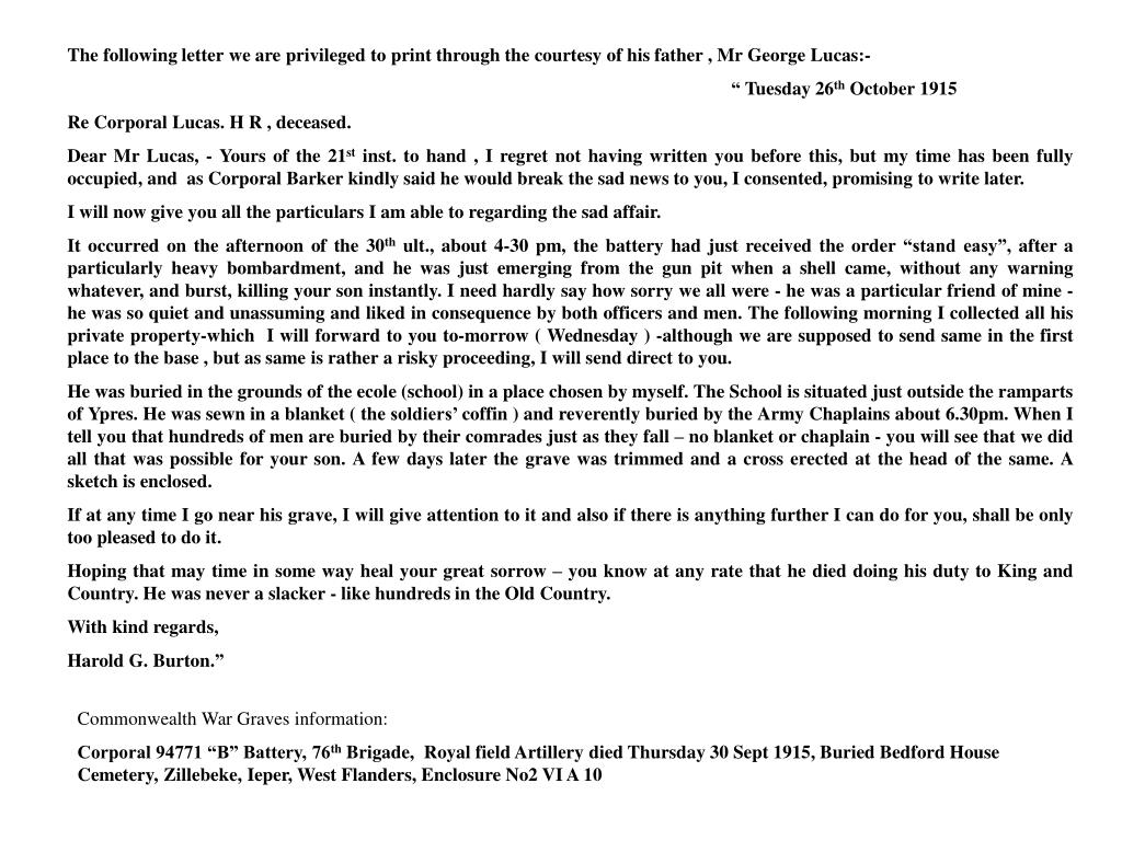 The following letter we are privileged to print through the courtesy of his father , Mr George Lucas:-