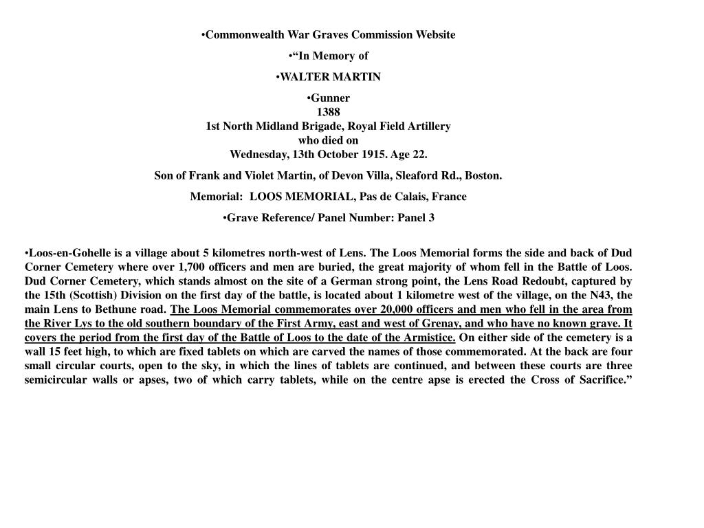 Commonwealth War Graves Commission Website