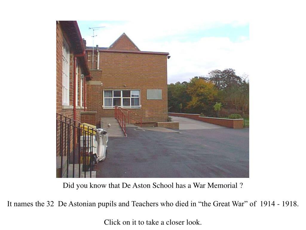 Did you know that De Aston School has a War Memorial ?