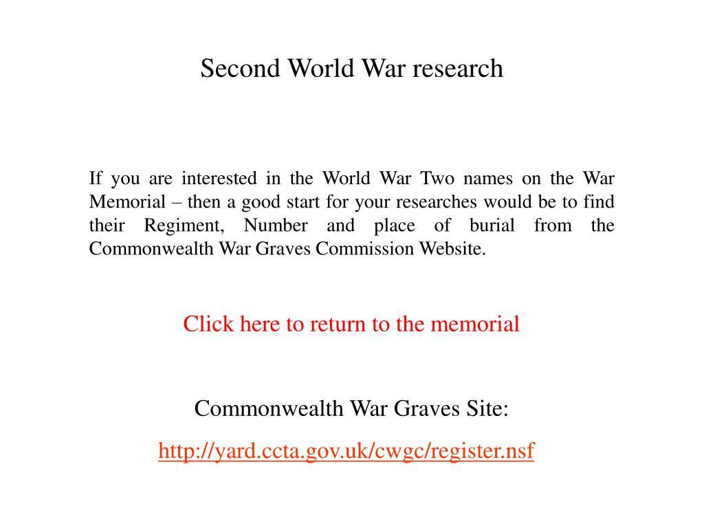Second World War research
