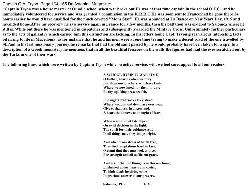 Captain G.A. Tryon  Page 164-165 De Astonian Magazine: