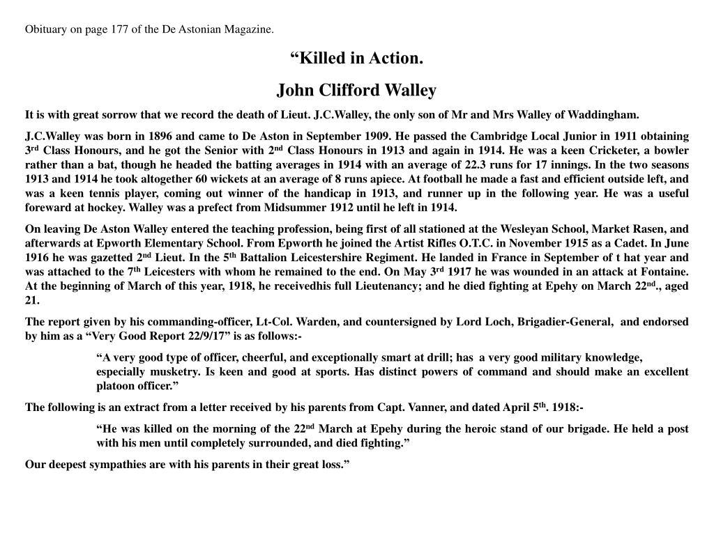 Obituary on page 177 of the De Astonian Magazine.