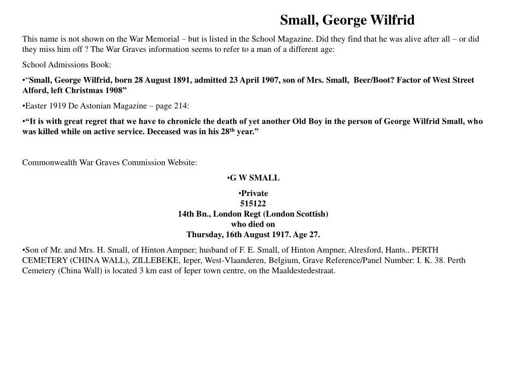 Small, George Wilfrid
