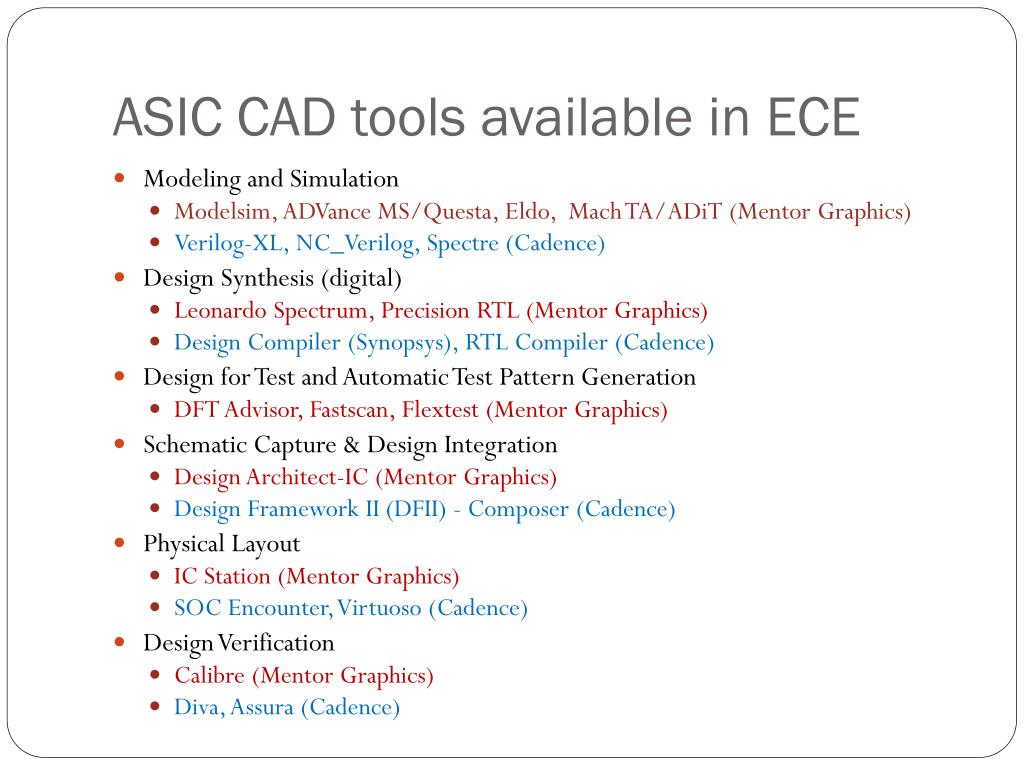 ASIC CAD tools available in ECE