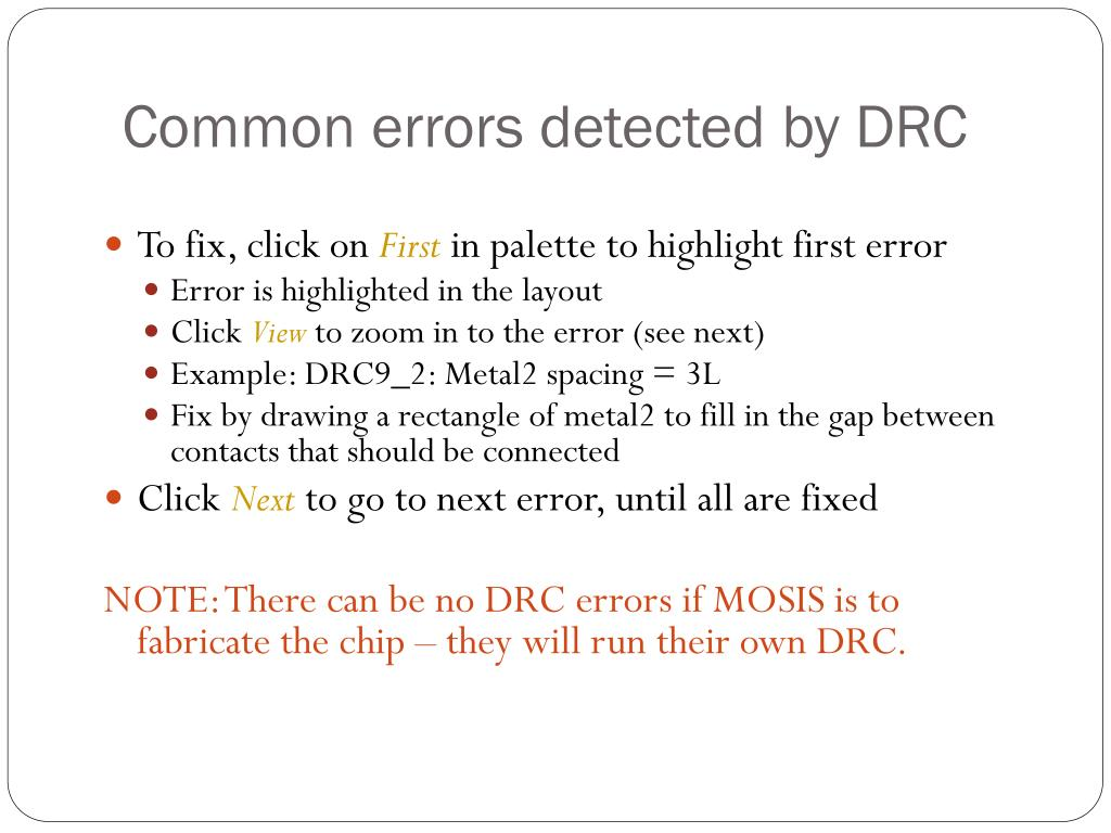 Common errors detected by DRC