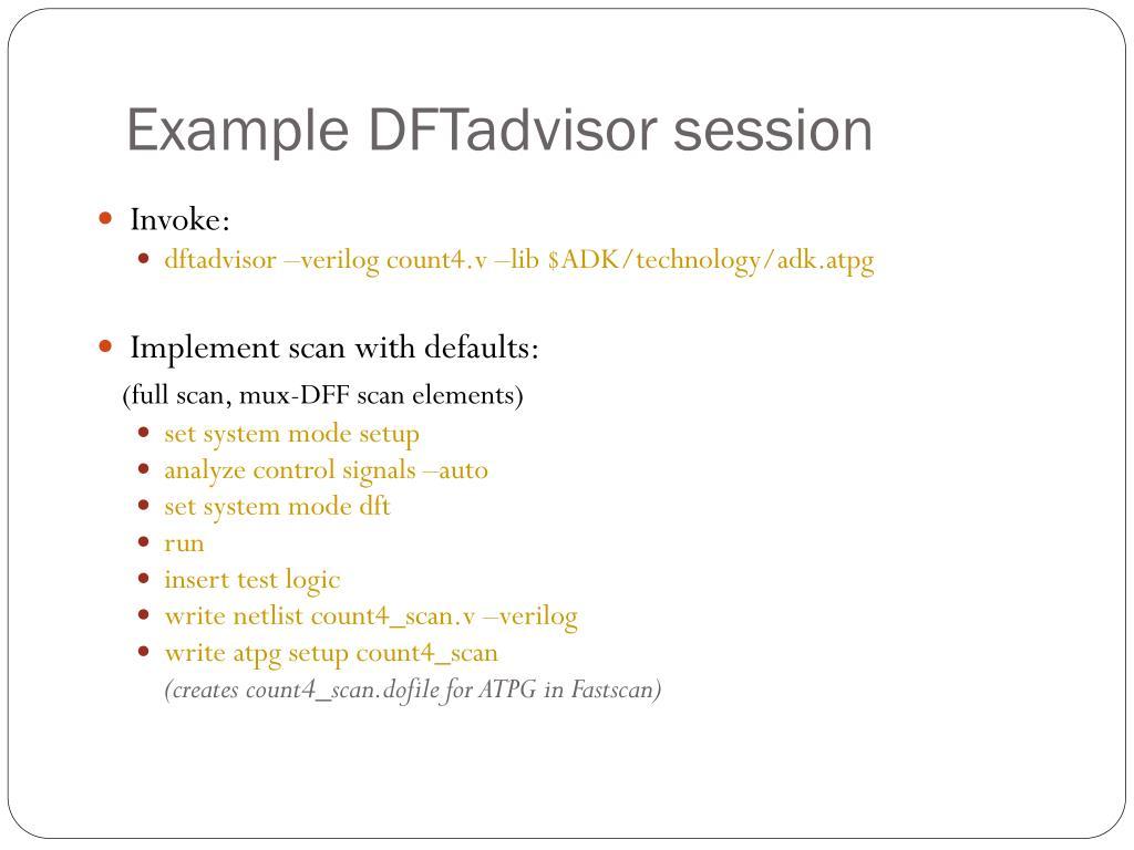 Example DFTadvisor session