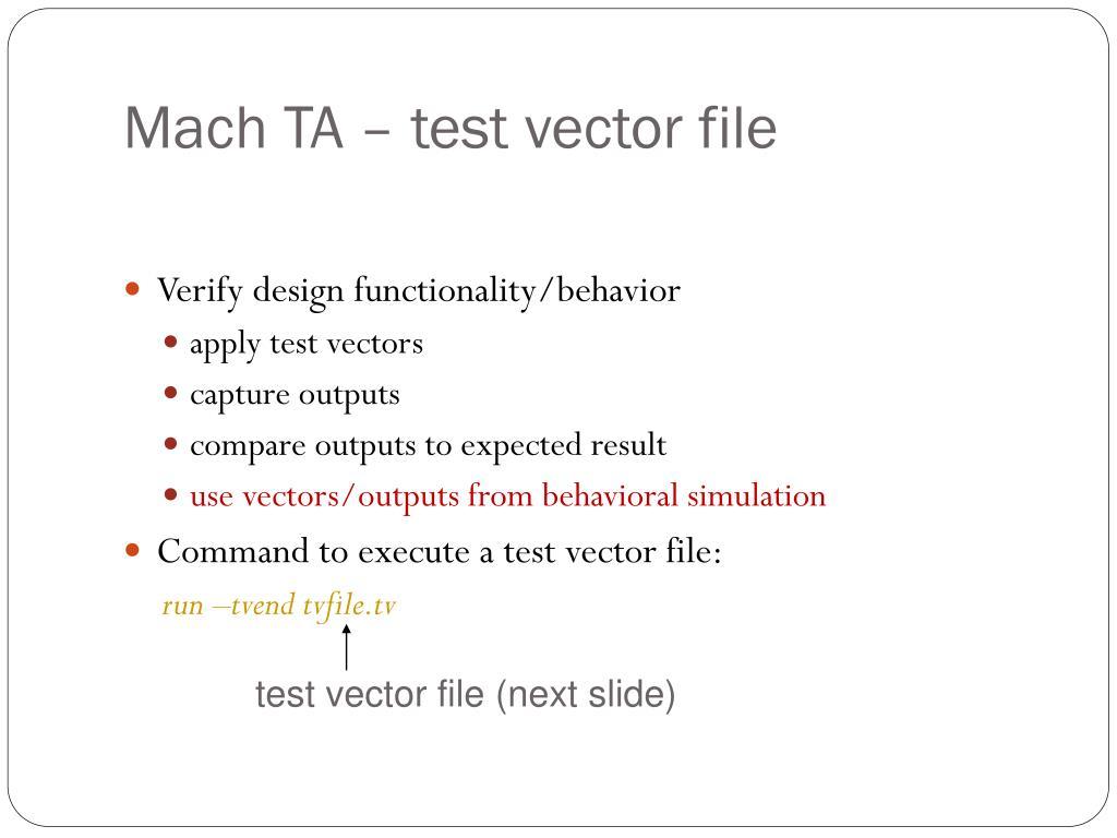 Mach TA – test vector file