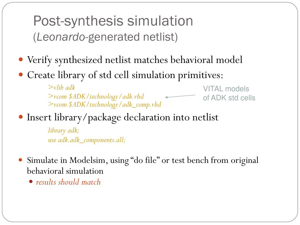 Post-synthesis simulation