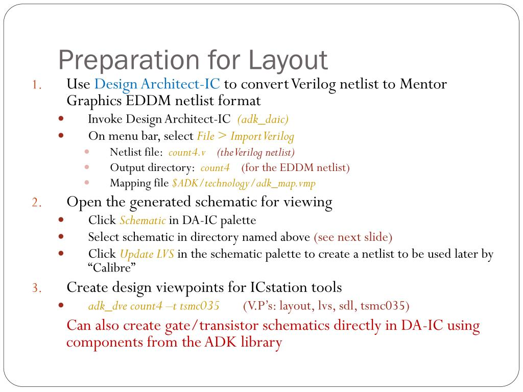Preparation for Layout