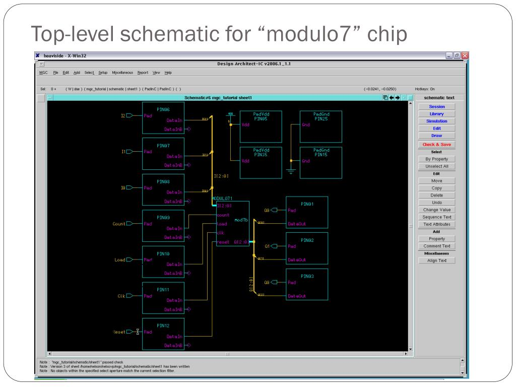 """Top-level schematic for """"modulo7"""" chip"""