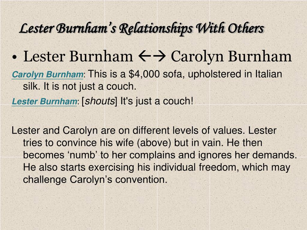 Lester Burnham's Relationships With Others