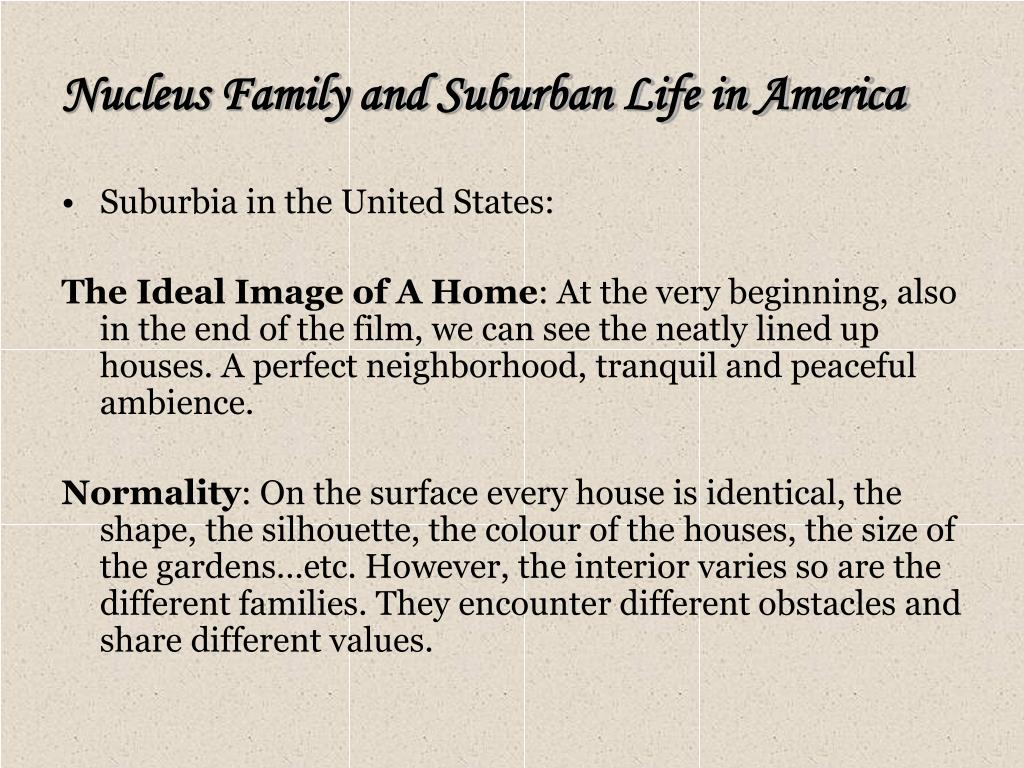 Nucleus Family and Suburban Life in America