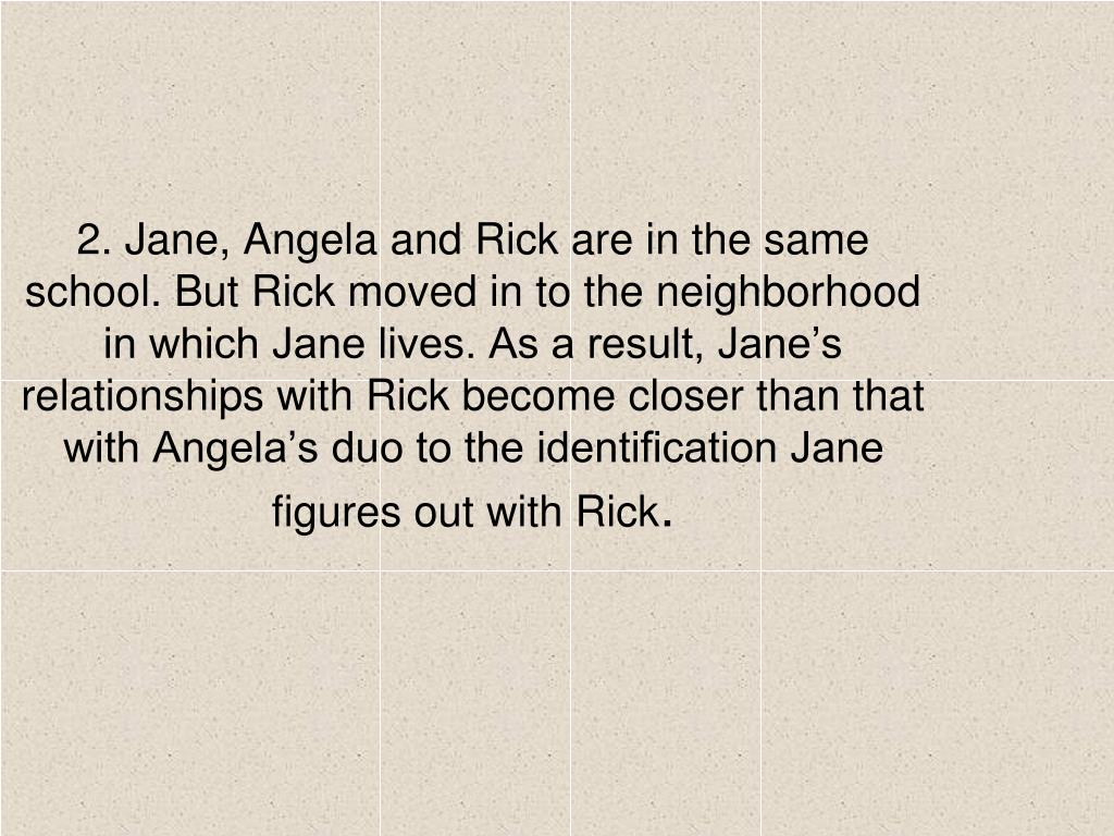 2. Jane, Angela and Rick are in the same school. But Rick moved in to the neighborhood in which Jane lives. As a result, Jane's relationships with Rick become closer than that with Angela's duo to the identification Jane figures out with Rick