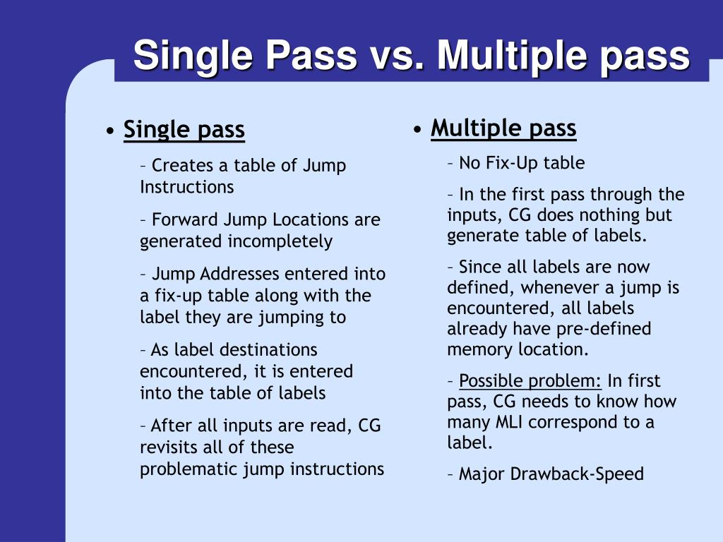 Single Pass vs. Multiple pass