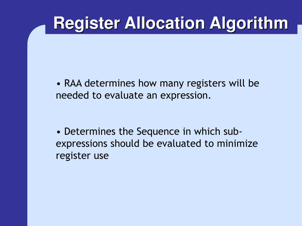 Register Allocation Algorithm