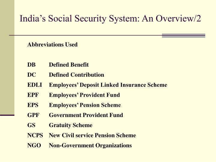 India's Social Security System: An Overview/2