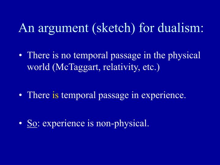 An argument (sketch) for dualism:
