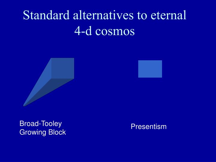 Standard alternatives to eternal    4-d cosmos