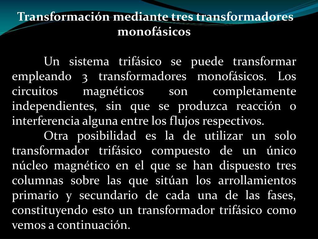 Transformación mediante tres transformadores monofásicos