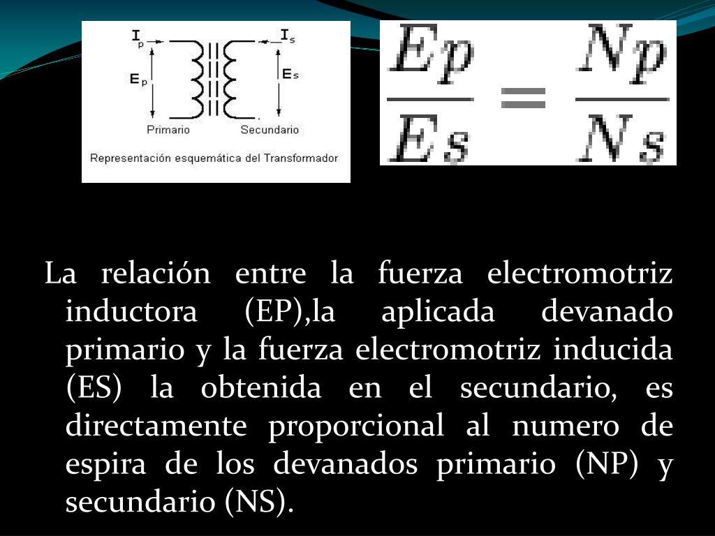 La relación entre la fuerza electromotriz inductora (EP)