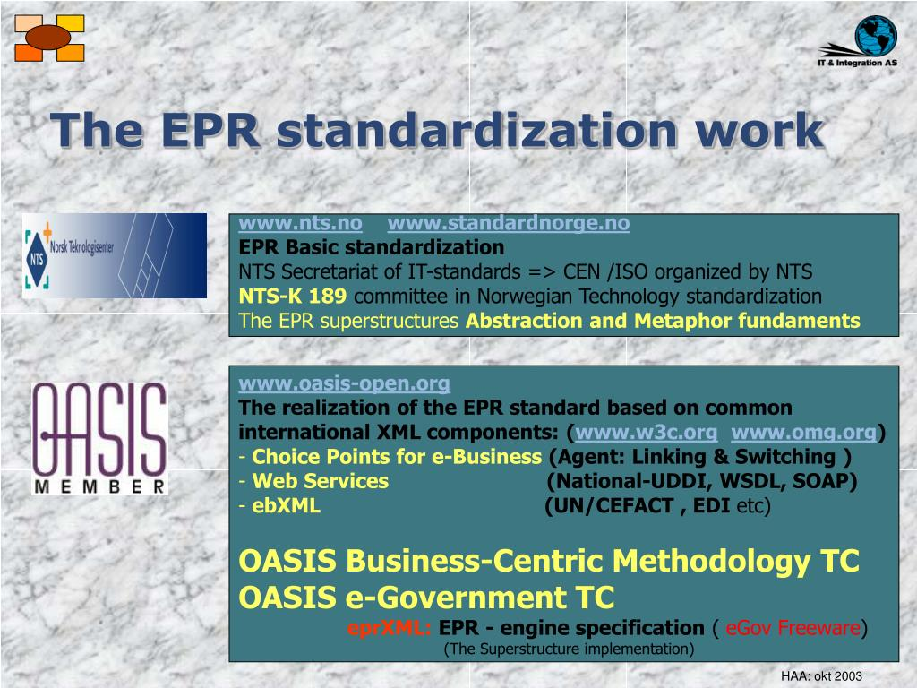 The EPR standardization work