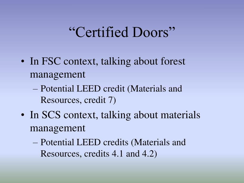 """""""Certified Doors"""""""