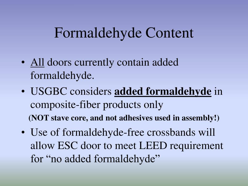 Formaldehyde Content