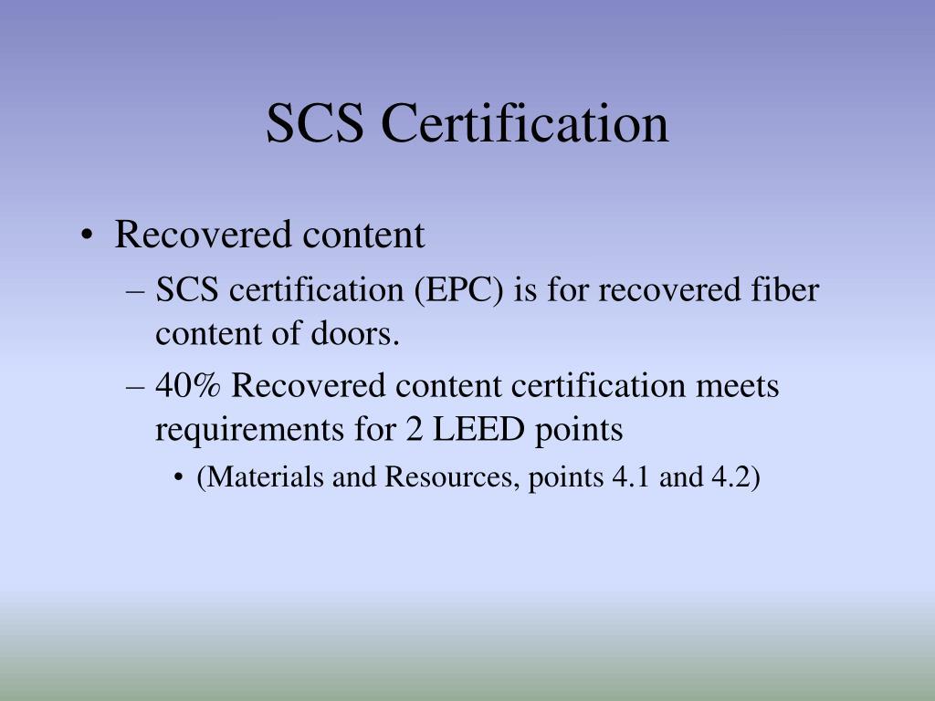 SCS Certification