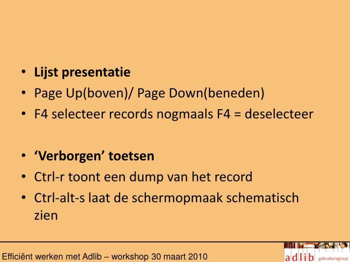 Lijst presentatie