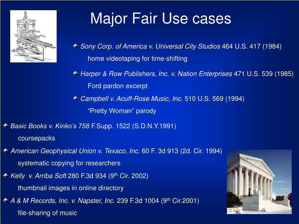 Major Fair Use cases