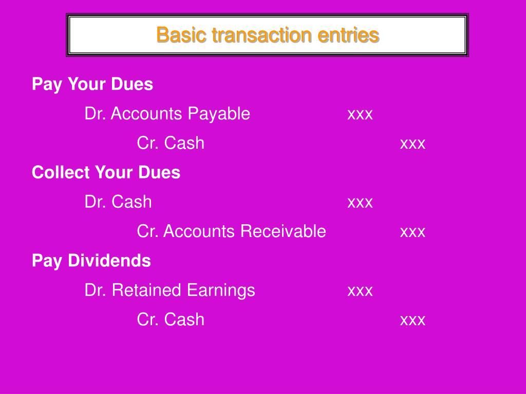 Basic transaction entries