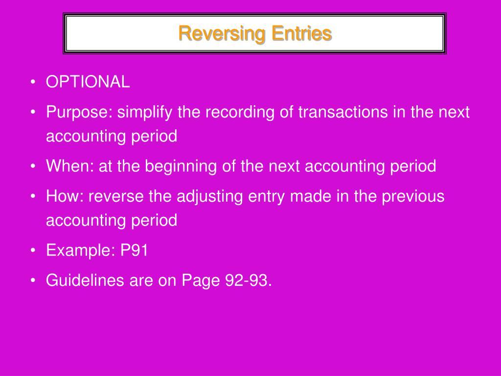Reversing Entries
